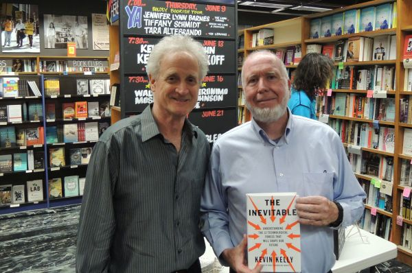 Bob Blum and Kevin Kelly with The Inevitable at Keplers, 2016